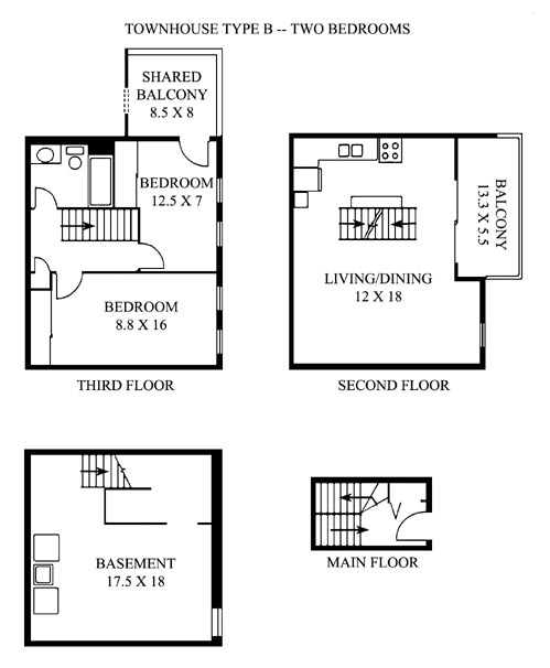 Sample floor plans for Stacked townhouse floor plans
